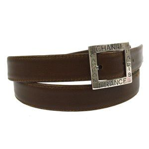 CHANEL CC Logos Buckle Belt Brown Silver Leather 7